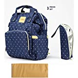 T-Bags Mommy And Baby Polka Dot Large Backpack Diaper Bag Blue With Changing Mat And Bottle Cover-MB27B