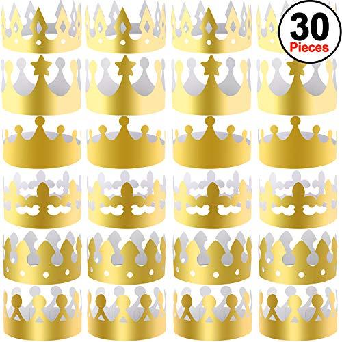 SIQUK 30 Stück Goldpapier Kronen Party King Crown Papierhüte für Party und ()