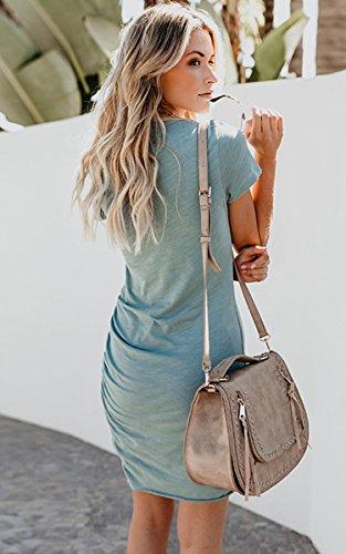 ECOWISH Damen Enges Kleid Sommerkleid Rundhals Kurzarm Kleid Bodycon Unregelmäßig Minikleid Blau M