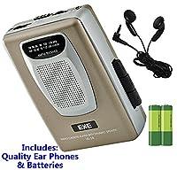 Retro Portable Personal Cassette Tape Player & Radio - inc Earphones �?? Built-In Speaker - inc Batteries (Exe VS-38 Package) (Gold (Inc Batteries))