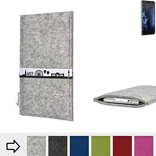 flat.design für Doogee Y6 4G Schutz Tasche Handyhülle Skyline mit Webband Wien - Maßanfertigung der Schutz Hülle Handytasche aus 100% Wollfilz (hellgrau) für Doogee Y6 4G