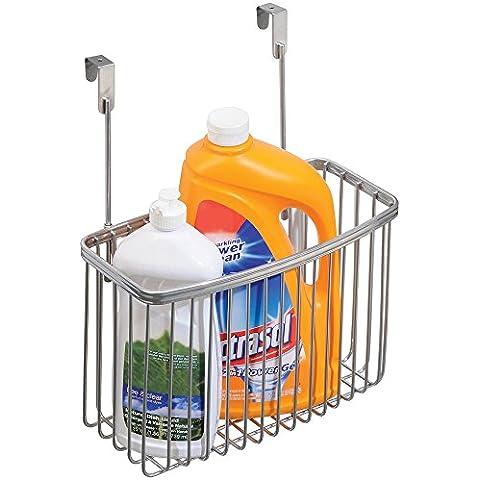 mDesign - Canasto organizador para almacenamiento en la cocina, para colocar sobre perfil de gabinete; guarda papel de aluminio, bolsas para sándwiches, artículos de limpieza - grande - Plateado