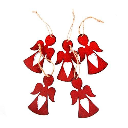 10 ciondoli a forma di angelo, in metallo, a forma di cuore, 8 cm, colore: rosso, decorazione natalizia da appendere, stile shabby chic