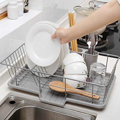 TY&WJ Kitchen Plate dish drainer Plastic + Stainless steel Sink Cutlery Mug holders Plate Fruit Vegetables Storage shelf Drying rack-A