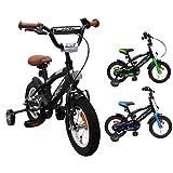 AMIGO - BMX Fun - Bicicletta bambini - 12'' (per 3-4 Anni) - Con stabilizzanti - Nero