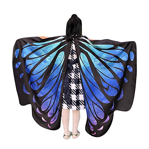 hmetterling Schal Kinder Kostüm Schmetterlingsflügel Pixie Halloween Cosplay Schmetterlingsf Butterfly Wings Flügel LMMVP (Himmelblau Größe: 136 * 108CM) ()