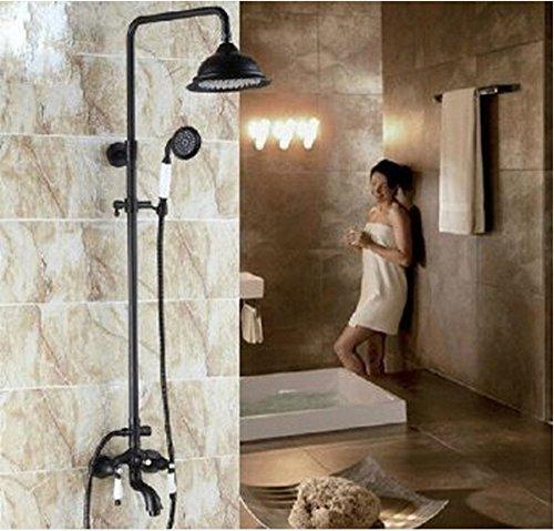 Rozinsanitary tradizionale doccia con soffione e doccetta, finitura in bronzo scuro, stile Vintage-20,32 cm (8