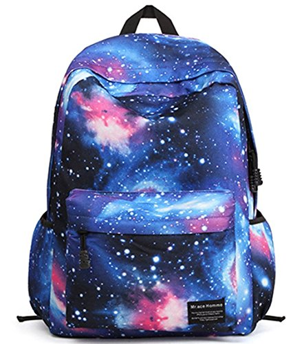 """Stormiay TrendyMax Galaxy Pattern-Schule-Rucksack Netter für Mädchen Universum Gelegenheits Daypack mit Laptopfach Fit 15 """"Laptop (Blau) Blau"""