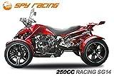Spy 250cc Racing Quad14' 2 Pers. Autobahn Zulassung 4-Gang Manuell + Rückwärtsgang Quad Atv Racing (Weinrot mit Schwarz Matten Akzenten)