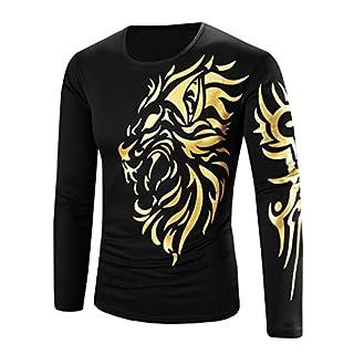 Anglewolf 100% Contton Fashion Short Sleeve Men Boy Plus Size Pentagram T Shirt Tops (XL, Black&Gold)