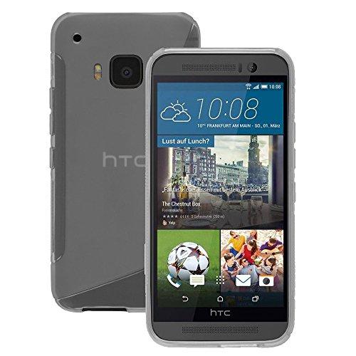 VComp-Shop® S-Line TPU Silikon Handy Schutzhülle für HTC One M9 + GRATIS Displayschutzfolie - TRANSPARENT