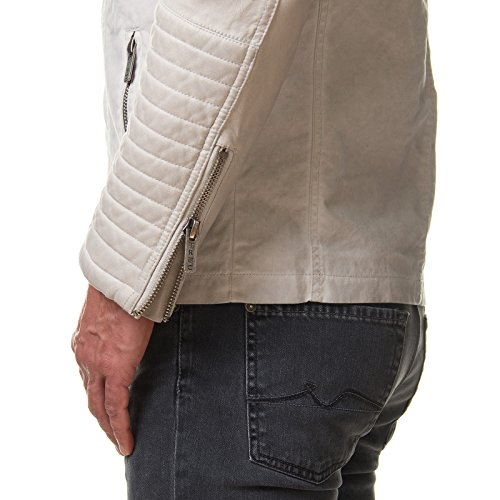 RedBridge Herren Jacke Kunst Leder Biker Gesteppt Beige Grau M6011 Beige