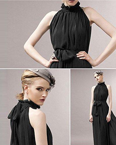 medeshe Pêche Rose en mousseline de soie longue Maxi robe de demoiselle d'honneur parti Noir - Noir