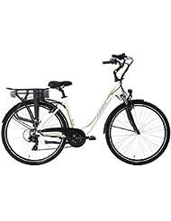 "Alu City Pedelec ADORE Versailles 28"" E-Bike blanc-vert 250 Watt Li-Ion 36V/10,4 Ah 7 vitesses"