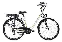 """Adore Damen Alu City Pedelec Versailles 28"""" E-Bike weiß-grün 250 Watt Li-Ion 36V/10,4 Ah 6 Gänge Fahrrad, Wei&ampszlig-Gr&ampuumln"""