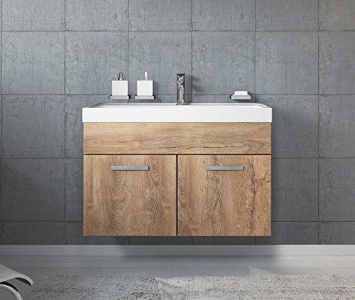 Badezimmer Badmöbel Paso 01 80 cm Waschbecken Lefkas (Braun) - Unterschrank Schrank Waschbecken Waschtisch
