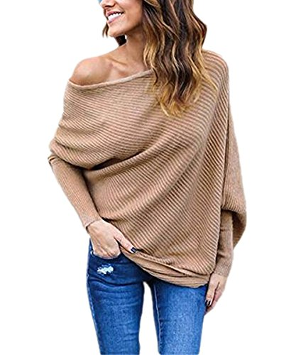 Norwaya Women's Batwing Long Sleeve Loose Knitwear Jumper Pullover Casual Tops Blouse T-Shirt