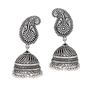 Jaipur Mart Jhumki Earrings for Women (Silver)(GSE320SLV)