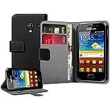 Schwarz Leder Aufklappbare Tasche H�lle f�r Samsung S7500 Galaxy Ace Plus - Flip Case Cover + 2 Displayschutzfolie