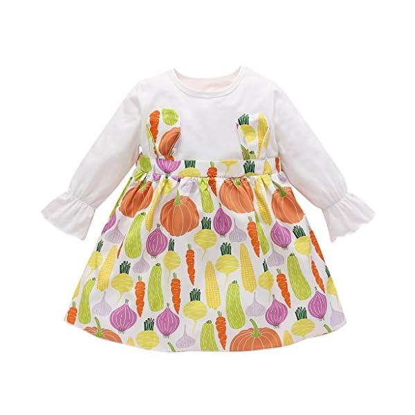 Heetey - Conjunto de Ropa y Abrigo para niña, de Manga Larga, con Estampado de Frutas, Vestido de Princesa, de una Pieza… 1