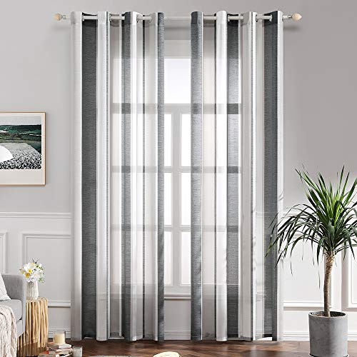 MIULEE Voile Vorhang Transparente Gardine aus Voile mit Ösen Schlaufenschal Ösenschals Transparent Fensterschal Wohnzimmer Schlafzimmer 245x140 cm, 2er Set Schwarz und Weiß