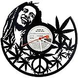 GRAVURZEILE Bob Marley Design Wanduhr aus Vinyl Schallplattenuhr im Upcycling Design Uhr Wand-Deko Vintage-Uhr Wand-Dekoration Vinyl-Uhr Retro-Uhr Made in Germany