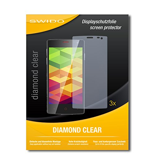 SWIDO 3 x Schutzfolie Ulefone Be X Bildschirmschutz Folie DiamondClear unsichtbar