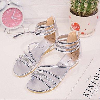 LvYuan Damen-Sandalen-Outddor Kleid Lässig-PU-Flacher Absatz Keilabsatz-Komfort-Schwarz Silber Gold Gold yI0CB
