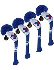 Scott Edward/utilidades fundas de cabeza de palo de golf híbridos, 4 piezas Paquete, patrón de rombos, hilo acrílico double-layers de punto, con giratorio número etiquetas, 4 colores opcionales, azul
