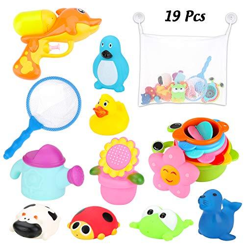 BBLIKE Badespielzeug, Badespielzeug Lagerung mit Wasserpistole, Fischernetz, Stapeln Cups, Squirt Toys, Sound Toys, 19 Stück Badespielzeug Set Babys 6-12 Monate für Badewanne