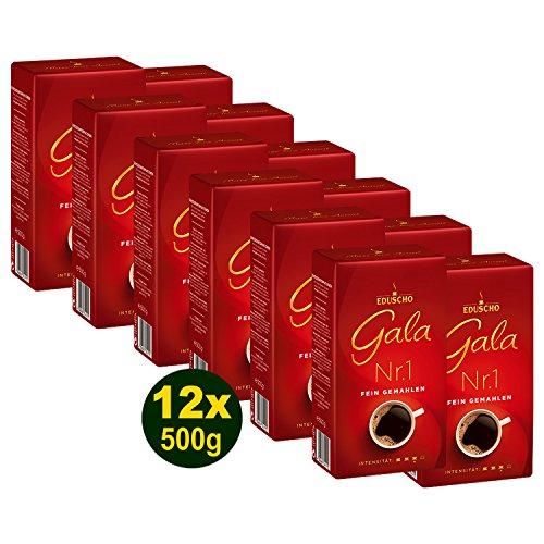 EDUSCHO Gala Nr.1 Kaffee, Fein Gemahlen 12x 500g (6000g) - Filterkaffee, Unser Bester, edel im Geschmack