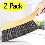 Soft-Cleaning-Brush--2PCS-Wood-Handle-Hotel-Family-Clothes-Dust-Hair-Sofa-Bed-Sheets-Bedspread-Carpet-Cleaning-Natural-Bristle-Brush-Wooden-Large-for-Home-Office-and-Car-Set-of-2