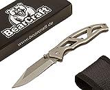 BearCraft Klappmesser | Outdoor Survival Taschenmesser mit Edelstahlgriff
