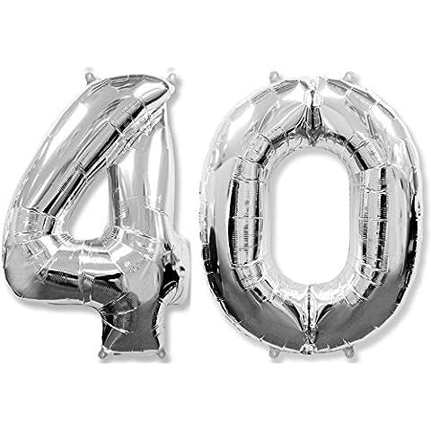 Globo número 40 para fiestas de cumpleaños y aniversarios de boda, medida 100 cm, inflándolo con HELIO flotará durante 5/6 días.