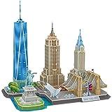 CubicFun Puzzle 3D US New York City Skyline Building Kits de décoration et Cadeau Souvenir, Statue de la Liberté, Empire State Building, Bâtiment Chrysler, 123 pièces