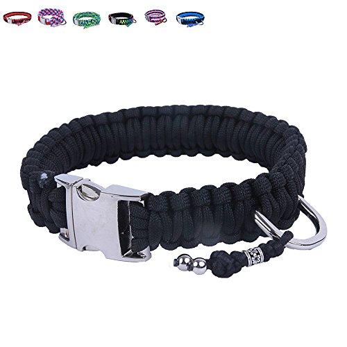 BelloBand Hundeleine Set aus Paracord / Führ-Leine mit Hundehalsband für mittelgroße Hunde / Farbe: Schwarz / 35cm ø -