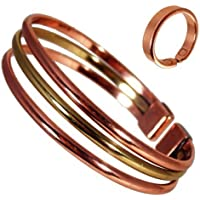 Magnetischer Kupfer & Messing Dreifach Armband mit glatte oberfläche magnet kupfer ring Kombi Geschenkset - SMALL... preisvergleich bei billige-tabletten.eu