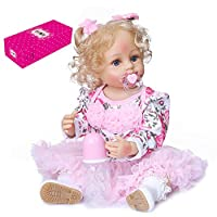 Baggra Reborn Dolls 22 inch Silicone Full Body Realistic Lifelike Baby Real Touch Weighted Toddler Doll with Hand Rooted Curly Blond Hair Floral Tulle Dress