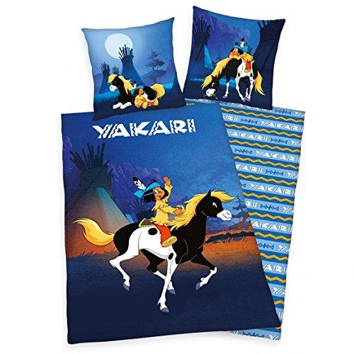 Yakari Bettwäsche mit Wendemotiv - Renforcé 135x200 cm + 80x80 cm + 1 Spannbettlaken in hellblau 90x200 cm