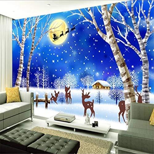 WAHAZC Tapete Hintergrundbild Benutzerdefinierte 3D Stereo Fototapete Cartoon Weihnachten Nacht Schnee Szene Kinderzimmer Hintergrund Tapeten Wohnkultur 3D Wallpaper, L196 * W140Cm