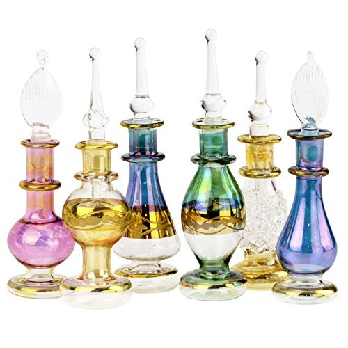 NileCart Ägyptische Parfümflaschen-Set, 5 cm, mundgeblasen, mit handgefertigter goldener Dekoration, für Parfüme und ätherische Öle, 12 Stück