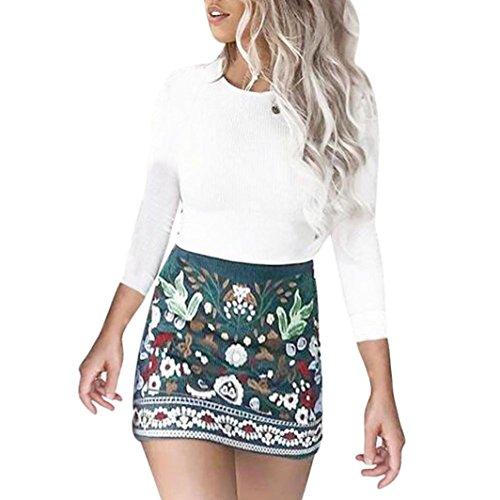 Kanpola Frauen Rock High Taille Blumen gedruckt kurze A-Linie Rock Bodycon Mini Kleid (M) (Wolle Rock Kurzen)