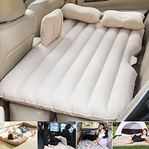 Viaggio materasso gonfiabile sedile posteriore materasso auto universale cuscino floccato materassino da campeggio per bambini (riso bianco)