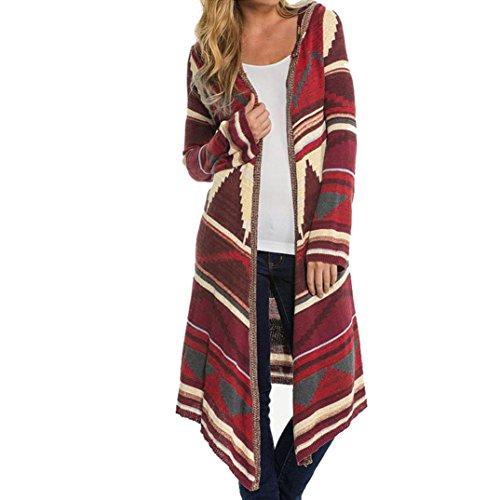 Koly_Cappotto da donna geometrico stampato a maniche lunghe con cappuccio Kimono Cardigan (M)