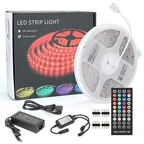 REEXBON LED Streifen 5m RGB LED Strip SMD 5050 mit Musik IP65 Wasserdicht 300 LEDs mit Netzteil, Fernbedienung für Zuhause, Schlafzimmer, TV, Decke, Schrankdeko,Deko Party Weihnachten