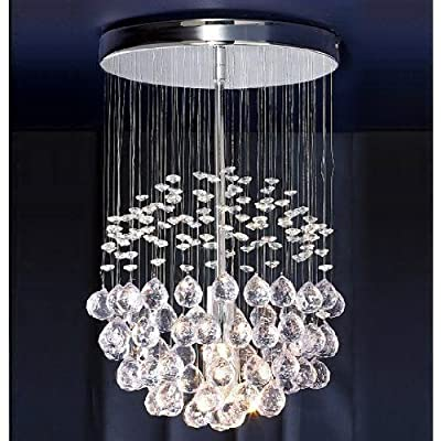 Modern Ceiling Light with Suspended Smoked & Clear Acrylic Droplets - low-cost UK light shop.