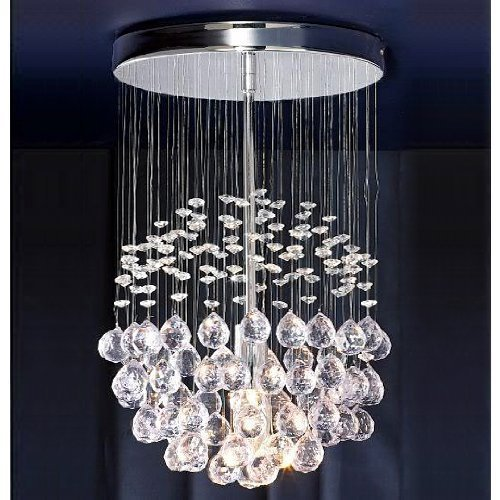 modern-silver-chrome-ceiling-light-with-suspended-clear-acrylic-droplets