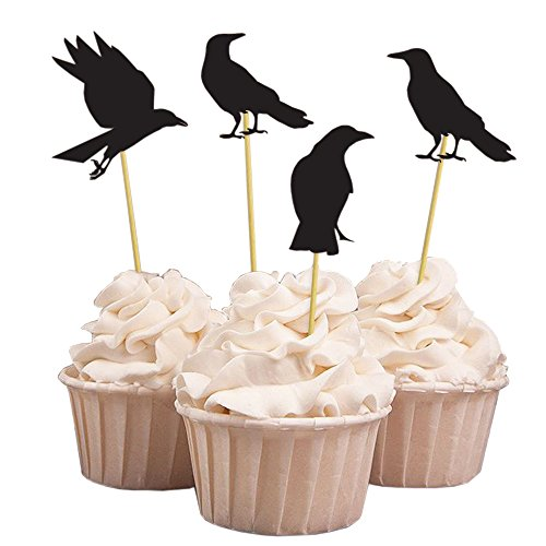 (20 Stück Halloween Party schwarze Krähe Cupcake Topper, handgemachte Party Dessert Kuchen Dekorationen, 4 Design)