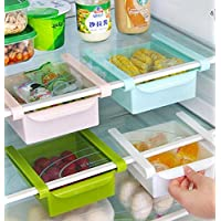 Bluelover Plastic Kitchen Refrigerator Fridge Storage Rack Freezer Shelf Holder Kitchen Organization White