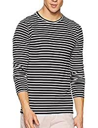 Krystle Boy's Black And White Stripe Full Sleeves Round Neck T-Shirt